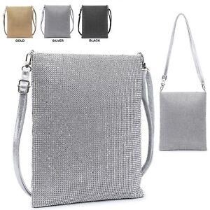 Image is loading Ladies-Diamante-Cross-Body-Bag-Messenger-Bag-Crystal- ea74810ced