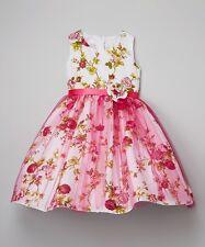 *New* Girls Kids Fashion Fuchsia Sparkle Floral Occasion Dress ~ UK 9 -10 USA 10