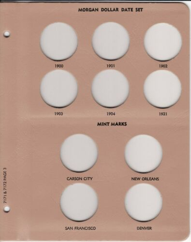 DANSCO Album Page Morgan Silver Dollars #7171-3 7172-3 Page 3