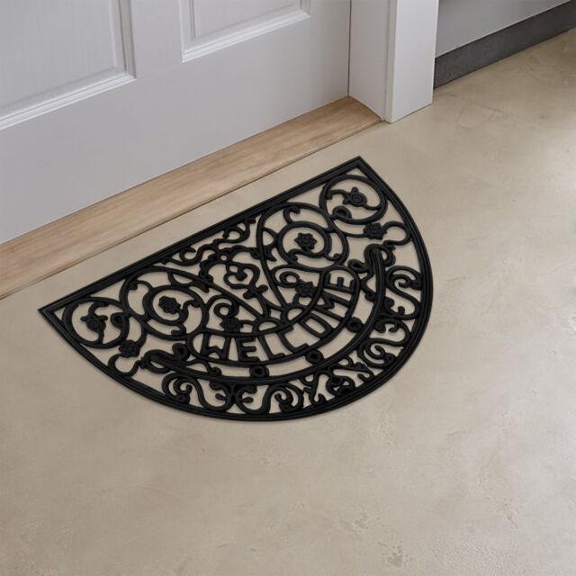 Superior Half Round Wrought Iron Heavy Duty Rubber WELCOME Doormat / Entrance Door  Mat