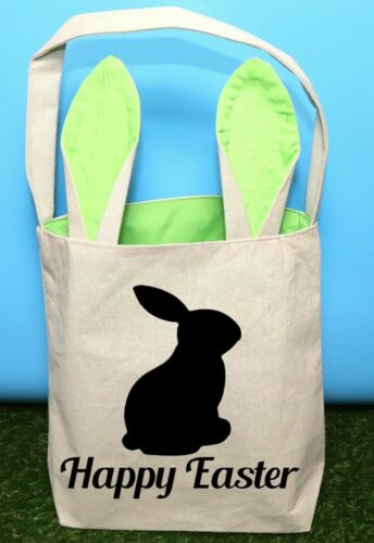Easter Green Bunny Ears Canvas Carry Gift Bag Cotton Party Rabbit Fun Accessory