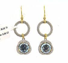 Charriol 18K Gold Stainless Steel Diamond Blue Topaz Dangle Earrings $1450