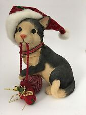 "Black Tan Resin Christmas Kitty Cat Figure Figurine W/ Mitten Yarn Santa Hat 8"""