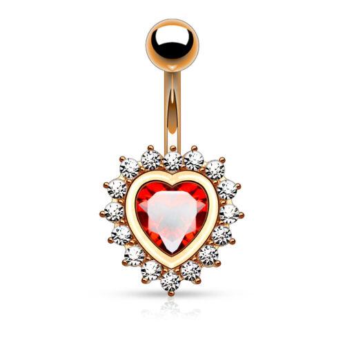 "Heart Shape CZ 14k Gold Rose Gold Surgical Steel Navel Belly Ring 14g 3//8/"""