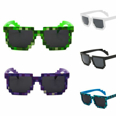 Kids Unisex Retro Trendy Square Sunglasses Pixel 8 Bit Glasses Pixelated Style