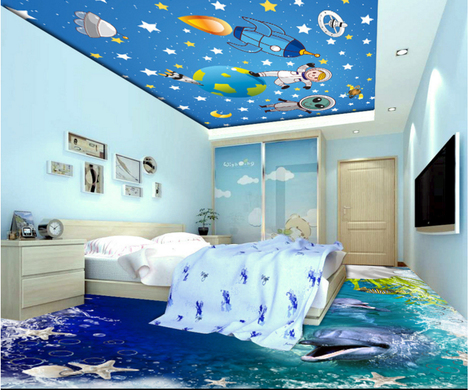 3D Alien Astronaut 8 Ceiling WallPaper Murals Wall Print Decal Deco AJ WALLPAPER