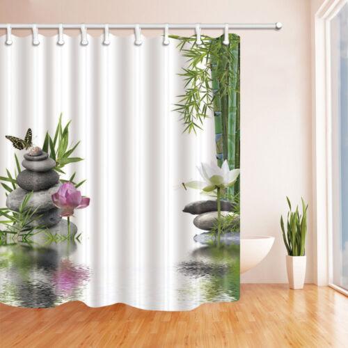 Zen Stone Bamboo Lotus Flower Waterproof Fabric Bath Shower Curtain /& 12 Hooks