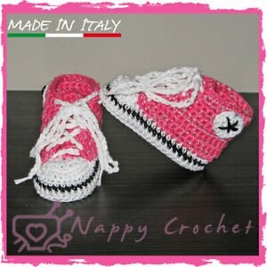 Crochet Baby Shoes Scarpine A Uncinetto Brillantinate Sneakers All