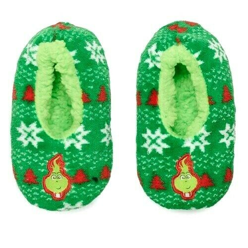THE GRINCH Sz L 13-4 BABBA Slipper Socks Girls Or Boys CHRISTMAS