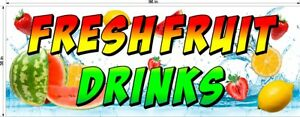 3-039-X-8-039-VINYL-BANNER-FRESH-FRUIT-DRINKS-WATERMELON-STRAWBERRY-LEMON