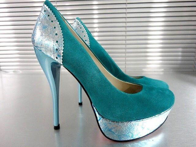 MORI ITALY SCHUHE PLATFORM HIGH HEELS PUMPS SCHUHE ITALY Schuhe LEATHER TURQUOISE Blau BLAU 44 c49c75