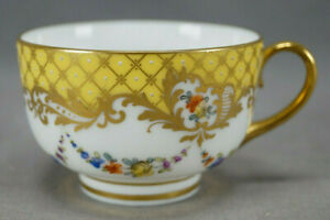 Helena Wolfsohn Dresden Hand Painted Floral Yellow & Gold Scrollwork Cup
