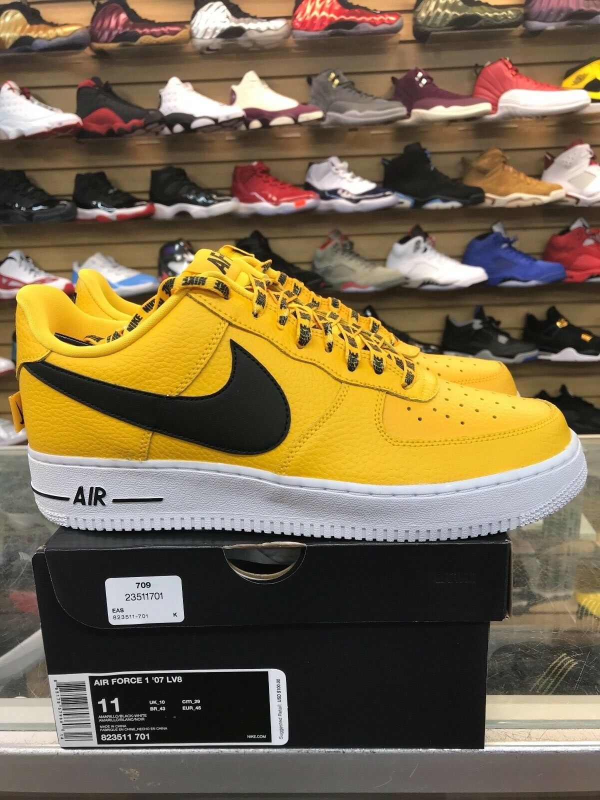 Authentic Nike Air Force 1 Low NBA '07 Lv8 Amarillo Yellow 823511 701 Mens 16