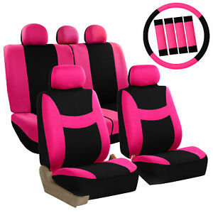 Pink  Car Seat Covers Set for Auto w/Steering Wheel/Head Rests