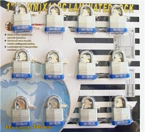 12pc KEYED ALIKE 30mm Heavy Duty Laminated Steel Padlocks Set Security Locks New