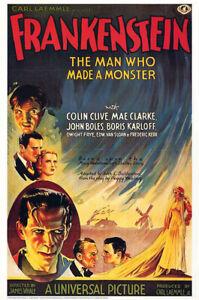 Frankenstein Boris Karloff 1931 Belgian Vintage  Reproduction Glossy Poster
