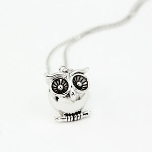Antique-Style-925-Sterling-Silver-Cute-Owl-Pendant-Charm-Necklace-Vintage-Look