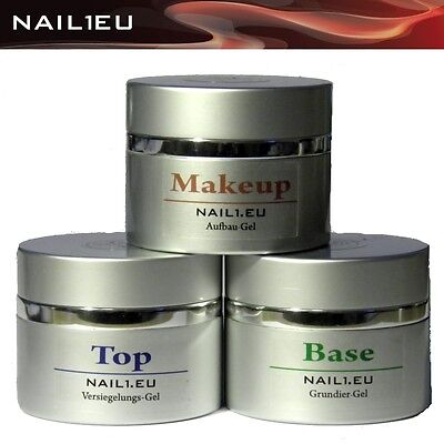"MakeUP Set: UV Camouflage Aufbau-Gel, Haft-Gel, Versiegler-Gel ""NAIL1EU"" 3*40ml"