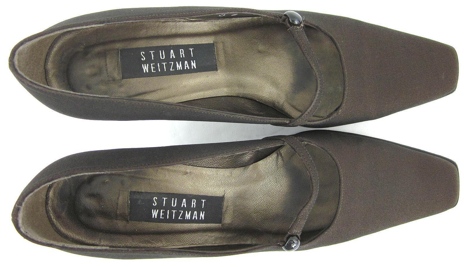 Stuart Weitzman Mary Jane Strap Pumps Pumps Pumps braun Fabric Sz 7.5B 3fc591