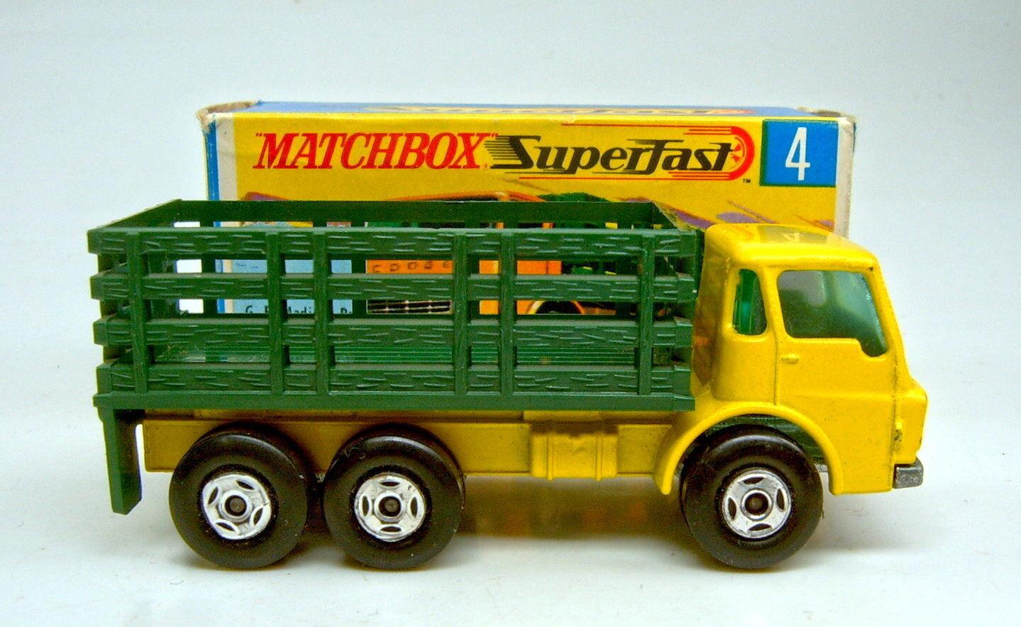 MATCHBOX superfast Nº 4a 4a 4a stake camion lumineuse jaune & vert spiro roues top dans Box   Matériaux De Haute Qualité    Matériaux De Qualité  6bb7b0