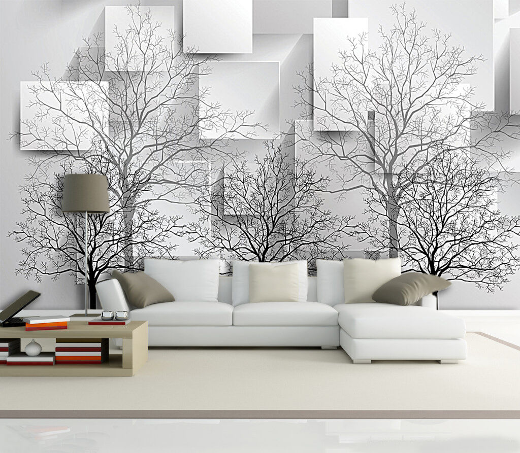 3D Schwarze Bäume 888 Fototapeten Wandbild Fototapete Bild Tapete Familie Kinder