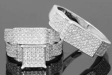 10K WHITE GOLD .80 CT MEN WOMEN DIAMOND TRIO ENGAGEMENT WEDDING RING BAND SET
