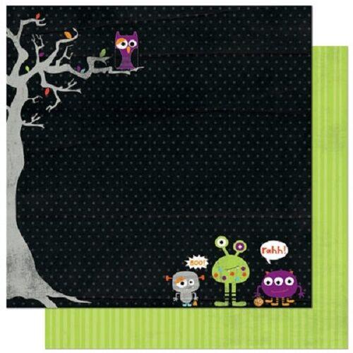 """Scrapbook Paper 12/"""" 5p Bo Bunny Whoo-ligans Halloween Aliens owls trick treat"""