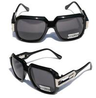 Gloss Black Hipster Square Sunglasses Silver Metal Accents Black Lens