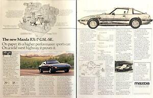 1984 Mazda Rx 7 Gsl Se Coupe Rotary Engine Photo Diagram 2 Page Vintage Print Ad Ebay