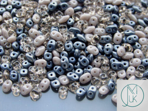 20g Czech SuperDuo Twin Beads Grey Mix
