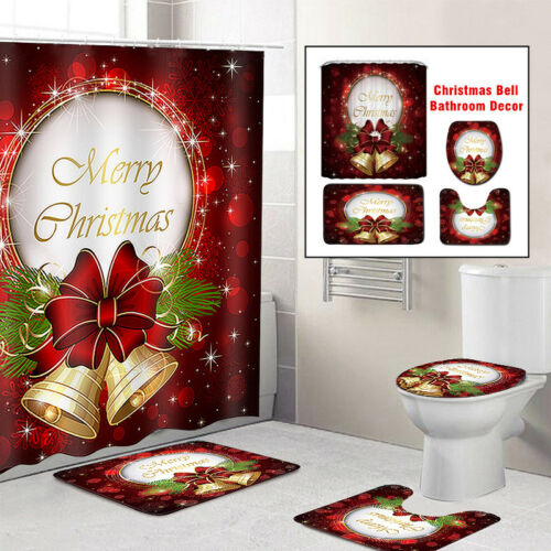 4Pc Christmas Toilet Seat Cover Rug Shower Curtain Bathroom Set Home Decorations