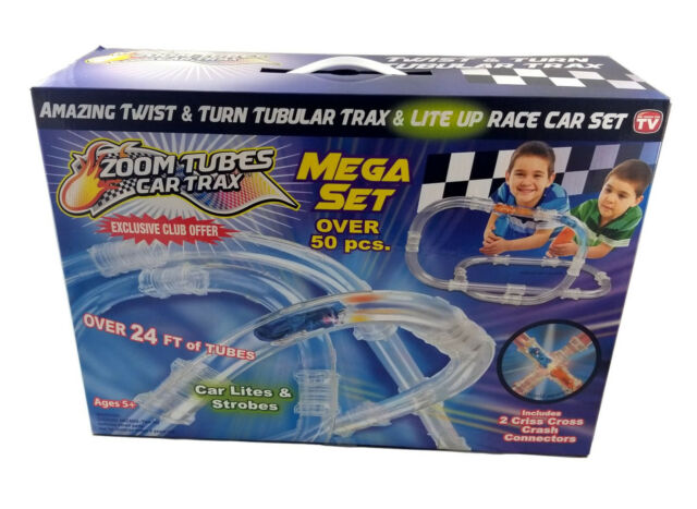 Zoom Tubes Car Trax 50 pc Exclusive Mega Set Tubular Speed Pipes Racing Track