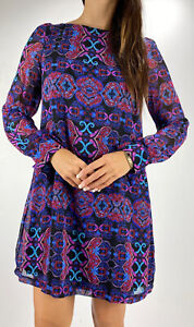 COOPER ST Purple Pink Floral Boho Print Long Sleeve Shift Dress Size AU 10 Party