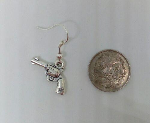 GUN drop Earrings ladies gangster// police costume SURGICAL STEEL assorted design