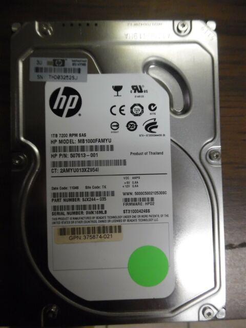 "HP 1TB SAS 3.5"" Hard Drive 7200RPM   P/N: 507613-001 Model: MB1000FAMYU"