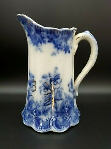 VINTAGE-ESTATE-7-034-FLOW-BLUE-HAND-PAINTED-PITCHER-W-PANSY-FLOWERS-amp-GOLD-ACCENTS