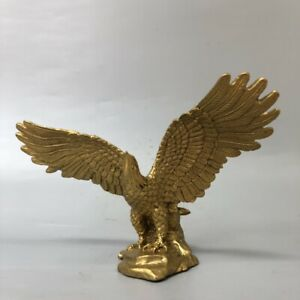 17cm Noble Chinese fengshui Decor Exquisite Golden brass Eagle Statue figurine