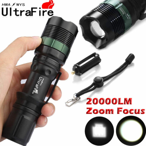 Tactical ZOOM FOCUS 50000LM T6 LED Outdoor Flashlight Torch+18650+Charger+Case@