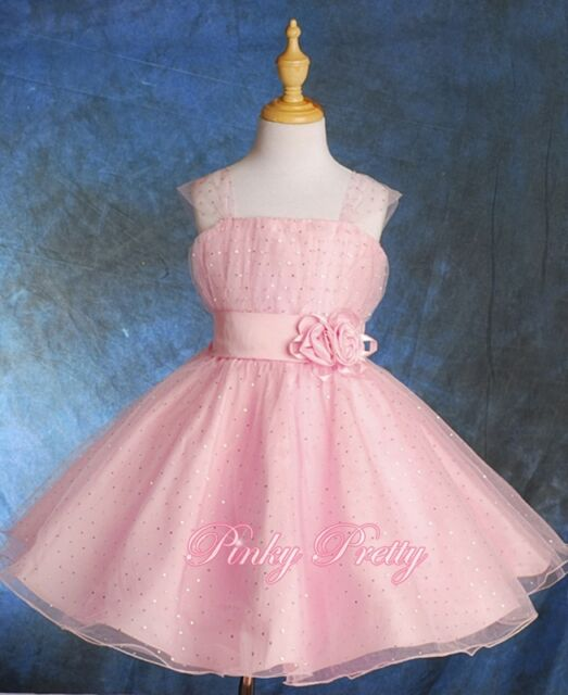59b5211c9 Sequined Pink Wedding Flower Girl Bridesmaid Party Occasion Dress ...