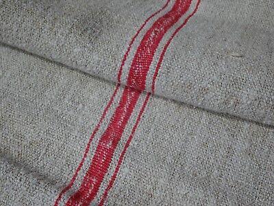 Antique European Feed Sack GRAIN SACK Red Stripe # 9482