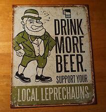 DRINK MORE BEER Leprechauns St. Patrick's Day Irish Bar Pub Home Decor Sign NEW