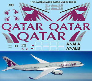 1-144-Airbus-A350-Qatar-Livery-for-Revell-Decals-TB-Decal-TBD48