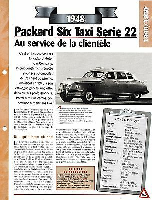 Collezione Qui Voiture Packard Six Taxi SÉrie 22 Fiche Technique Auto 1948 Collection Car