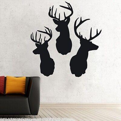 Removable Three Deer Head Animal Decoration Vinyl Wall Paper Decal Art Sticker