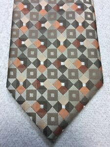 à Condition De Stafford Cravate Homme Orange Marron Gris Fauve 3.75 X 60 Nwot Des Performances InéGales