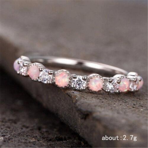 Magnifique 925 Bijoux En Argent rose opale de feu Femmes Cocktail Party Anneaux Taille 6-10