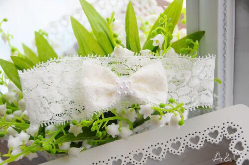 Baby /& Kinder Haarband Weiß Creme Schleife Kopfband Stirnband Taufe Fest