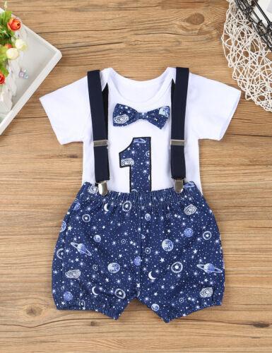 Infant Baby Boys 1st Birthday Outfit Toddler Romper Shorts Suspender Straps Set