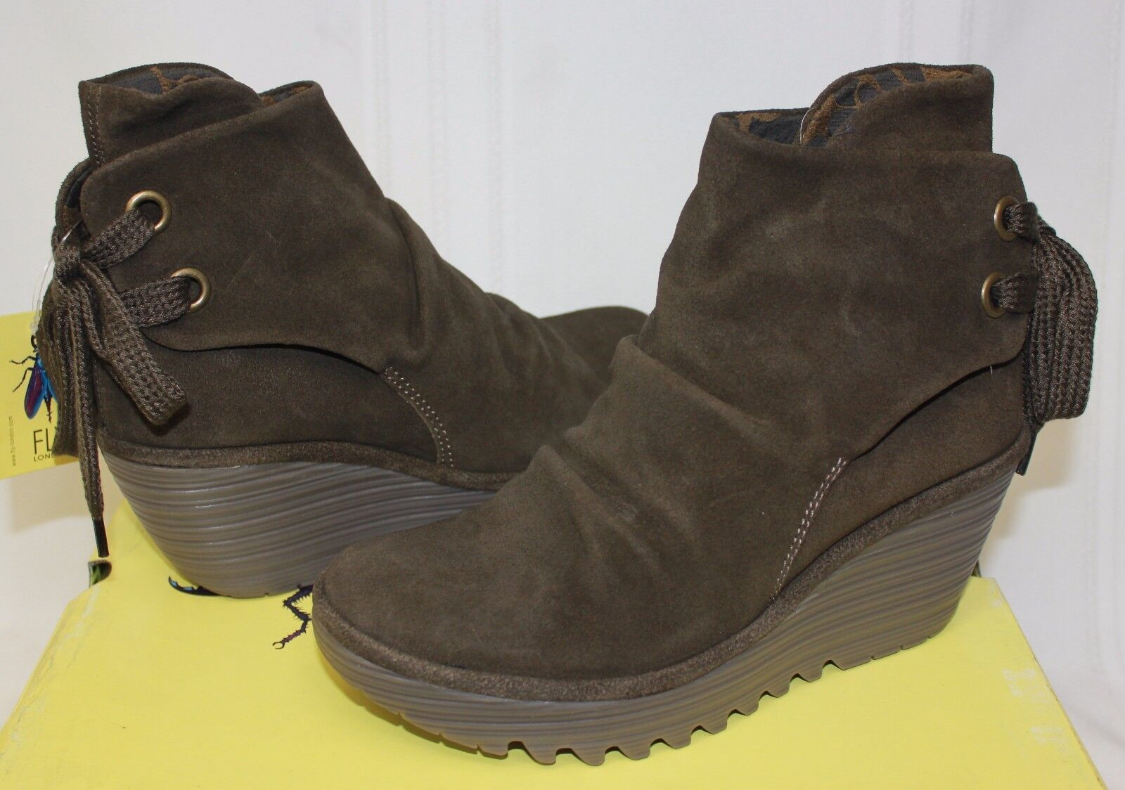 FLY LONDON Yama Wedges Sludge Oil suede Stiefel New With Box