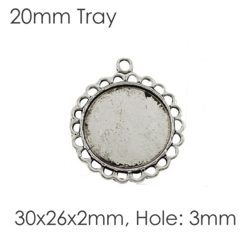 Tibetan Alloy Pendants Cabochon Setting Bezels Cameo Charm Blanks Antique Silver